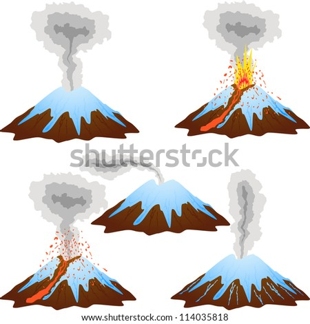 Volcano mountain peak eruption covered with snow. 5 stages of eruption. Vector