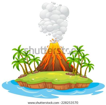 Volcano on an island with smoke - stock vector