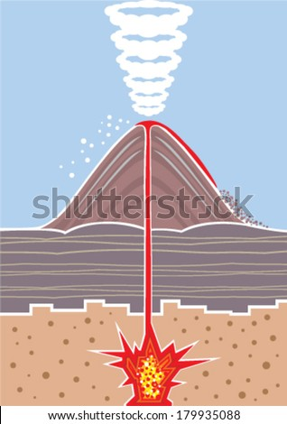 Volcano technical drawing vector - stock vector