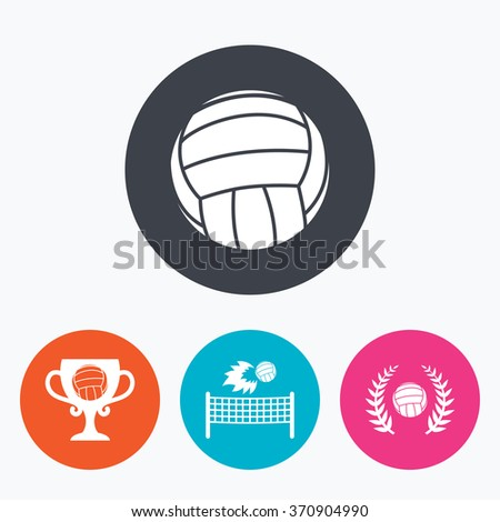 Volleyball and net icons. Winner award cup and laurel wreath symbols. Beach sport symbol. Circle flat buttons with icon.