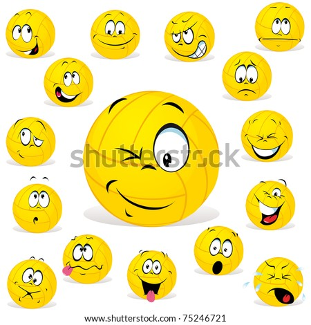 volleyball cartoon wit many expressions - stock vector