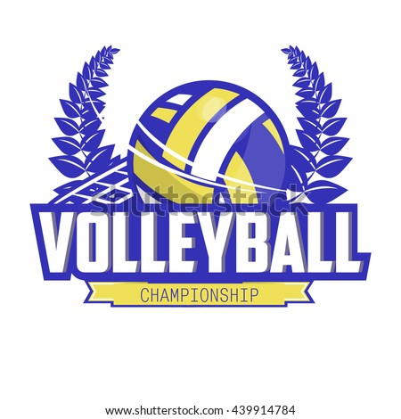 Volleyball championship logo with ball and laurel wreath. Sport badge for tournament or championship. Vector Illustration. Isolated on White. - stock vector