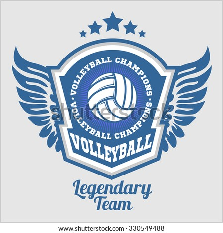 Volleyball championship logo with ball - vector illustration. - stock vector