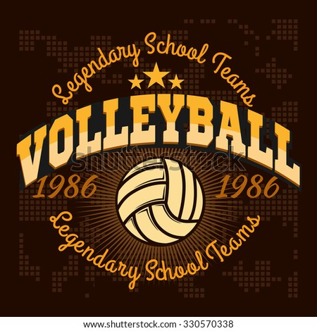 Volleyball championship logo with ball. Vector sport badge for tournament or championship. - stock vector