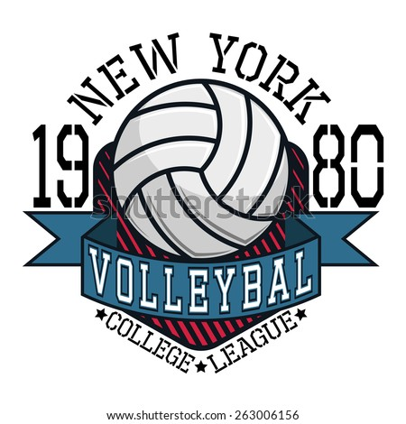 volleyball college league new york team stock vector hd royalty rh shutterstock com  volleyball team designs for t-shirts