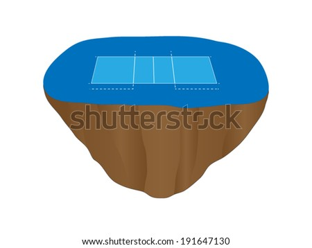 Volleyball Court Floating Island 4 - stock vector
