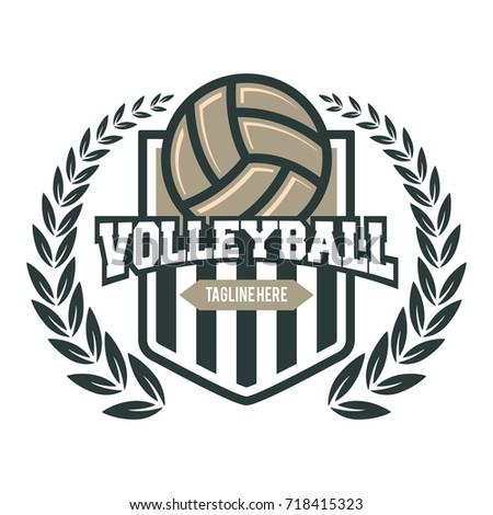 Volleyball Emblem Template Laurel Stock Vector 718415323 - Shutterstock