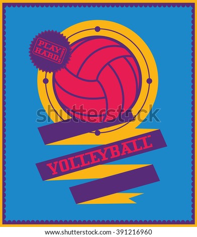 Volleyball emblem with ribbon. Sports logo. - stock vector