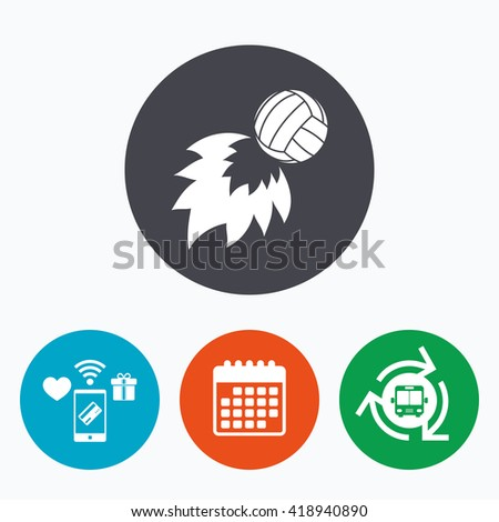 Volleyball fireball sign icon. Beach sport symbol. Mobile payments, calendar and wifi icons. Bus shuttle. - stock vector
