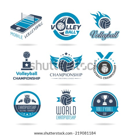 Volleyball icon set - stock vector
