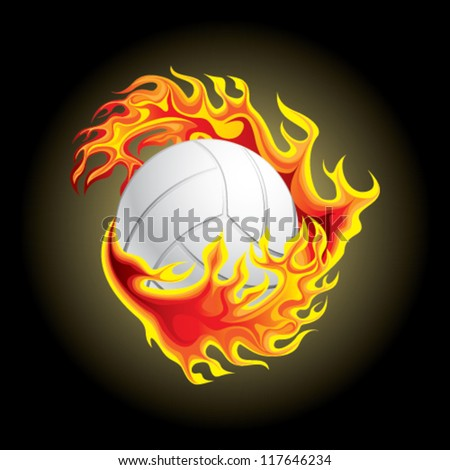volleyball in flame - stock vector