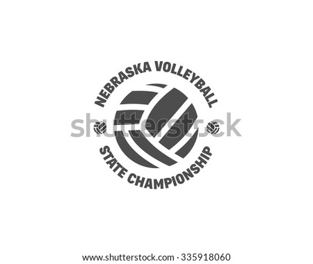 Volleyball label, badge, logo and icon. Sports insignia. Best for volley club, league competition, sport shops, sites or magazines. Use it as print on tshirt. Monochrome design. Vector illustration - stock vector