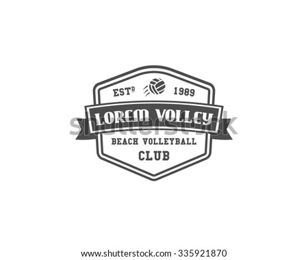 Volleyball label, badge, logo and icon. Sports insignia. Best for volley club, league competition, sport shops, sites or magazines. Use it as print on tshirt. Monochrome style. Vector illustration - stock vector