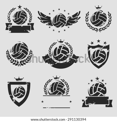 Volleyball labels and icons set. Vector - stock vector