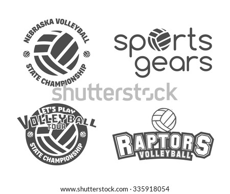 Volleyball labels, badges, logo and icons set. Sports insignias. Best for volley club, league competition, sport shops, sites or magazines. Use it as print on tshirt. Vector illustration - stock vector