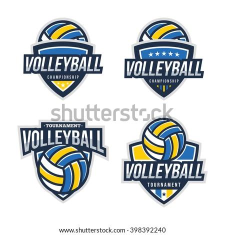 Volleyball Logo Badge, American Logo Sport - stock vector