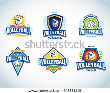 Volleyball logo templates set. Volleyball emblem, logotype template, t-shirt apparel design. Volleyball ball. Sport team badge for tournament or championship. Vector set. - stock vector