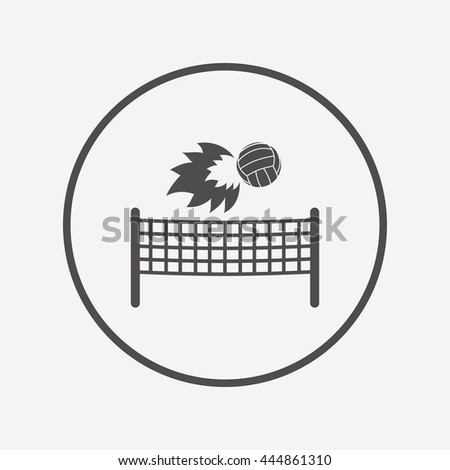 Volleyball net fireball icon. Beach sport symbol. Round button with flat volleyball icon. Vector - stock vector