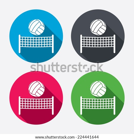 Volleyball net with ball sign icon. Beach sport symbol. Circle buttons with long shadow. 4 icons set. Vector - stock vector