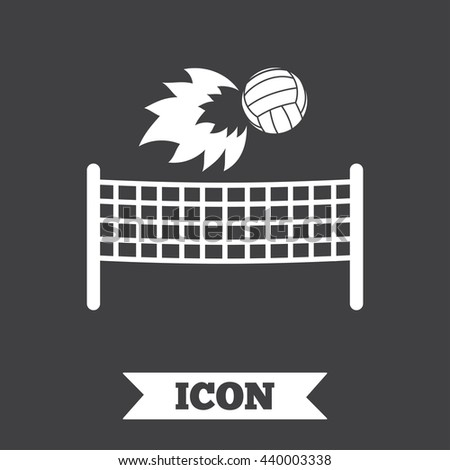 Volleyball net with fireball sign icon. Beach sport symbol. Graphic design element. Flat volleyball symbol on dark background. Vector - stock vector