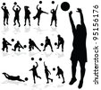 volleyball player black silhouette in various poses - stock vector