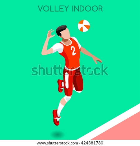 Volleyball Player 2016 Summer Games Icon Set. 3D Isometric Indoor Volleyball. Sporting Championship International Volley Match Competition. Sport Infographic olympics Volley Vector Illustration. - stock vector
