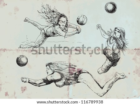 Volleyball players collection. Vintage sport illustrations. Vector description: Editable in several layers (at least three layers). Number of colors in each layer: no more than sixteen. - stock vector
