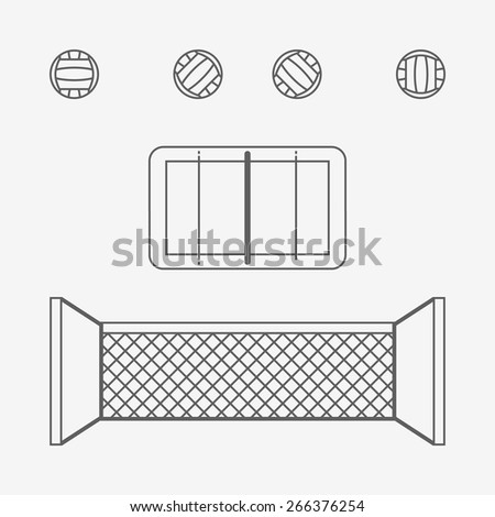 Volleyball set icons black on white - stock vector