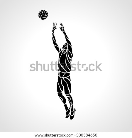 Volleyball setter silhouette, vector illustration