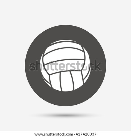 Volleyball sign icon. Beach sport symbol. Gray circle button with icon. Vector