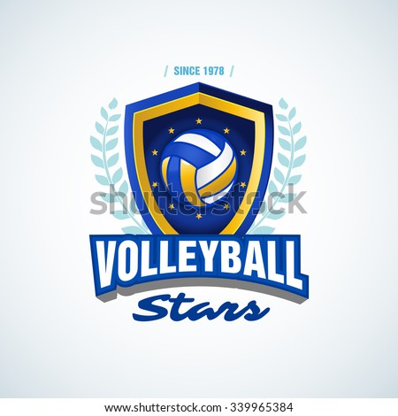 Volleyball stars team logo template. Volleyball emblem, logotype template, t-shirt apparel design. Volleyball ball. Sport badge for tournament or championship.  - stock vector