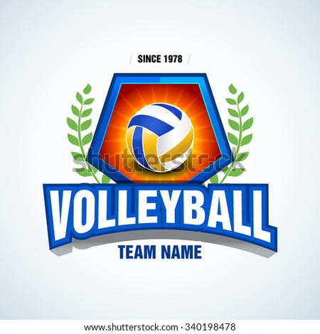 Volleyball team logo template. Volleyball emblem, logotype template, t-shirt apparel design. Volleyball ball. Sport badge for tournament or championship.