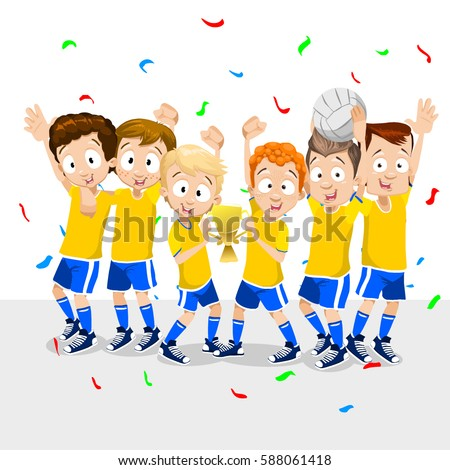 Volleyball team waving hands and smiling for photo. Children's volleyball team. Portrait of young players. Vector illustration of a flat design