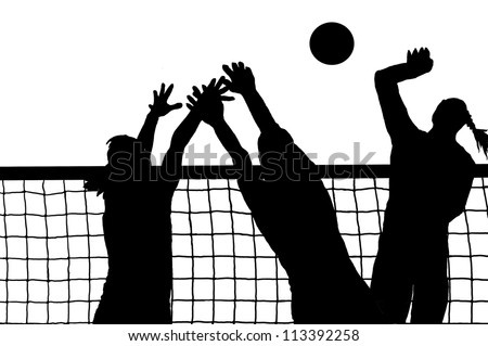 Volleyball three women and ball silhouette vector - stock vector