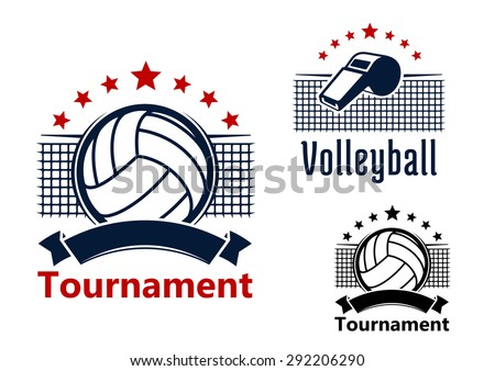 Volleyball tournament emblems design with balls, whistle and nets on the background, decorated with red stars and blank ribbon banners - stock vector