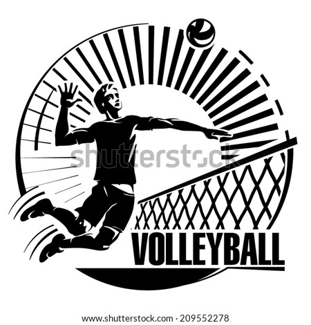 Volleyball. Vector illustration in the engraving style - stock vector