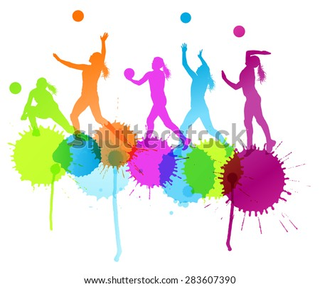 Volleyball woman player vector background concept with color splashes - stock vector