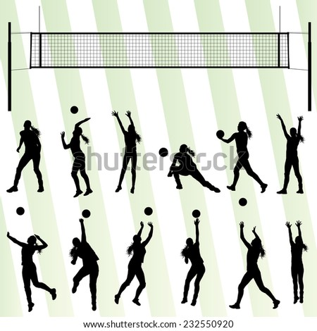 Volleyball woman player vector background set with net - stock vector