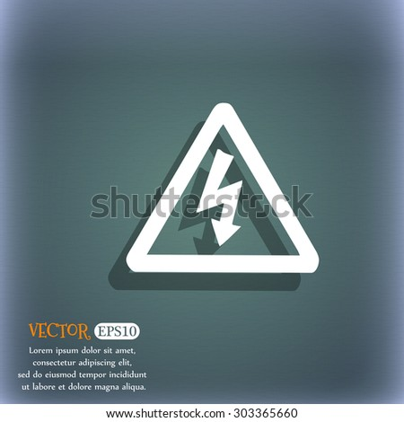 voltage icon symbol on the blue-green abstract background with shadow and space for your text. Vector illustration - stock vector