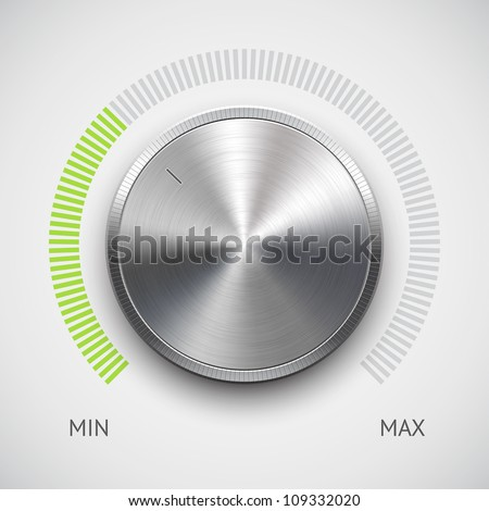 Volume button (music knob) with metal texture (steel, chrome), green scale and light background. Vector illustration. - stock vector