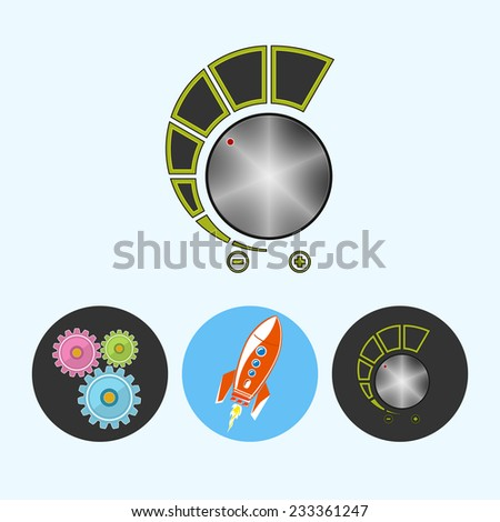 Volume control .  Set from 3 round colorful icons, gears ,  rocket , volume control, power control icon, vector illustration