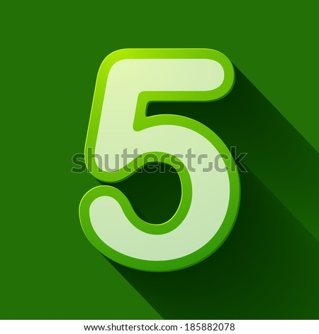 Volume icons number: five . Colorful modern Style. - stock vector