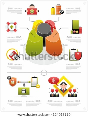 volume infographics and complex icons - stock vector