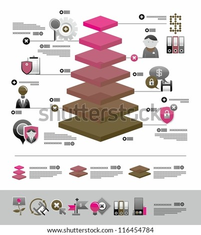 volume infographics and web icons - stock vector