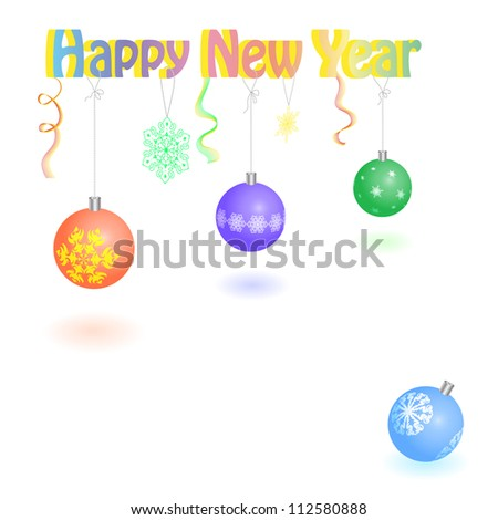 "Volume inscription ""Happy new year"" with fir-tree balls. Vector. eps 8"