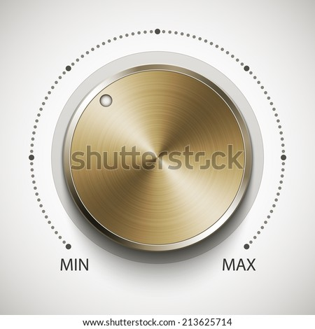 Volume knob with gold texture, realistic vector illustration - stock vector