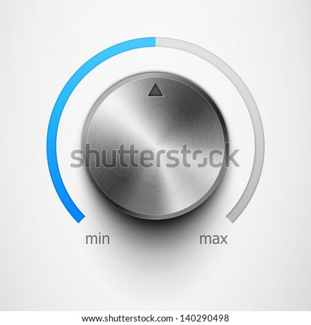 volume knob with metal texture and blue scale eps10 - stock vector