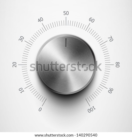 volume knob with metal texture and scale eps10 - stock vector