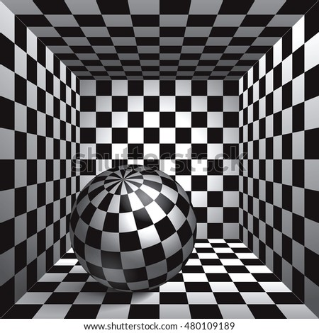 Volume plaid sphere the inside plaid room black and white cell box with a