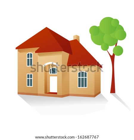 volumetric country house with a tree behind vector illustration